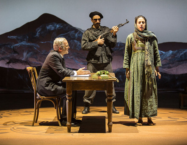 (from left) Joseph Kamal as Interrogator, Antoine Yared as Militiaman, and Nadine Mal Photo