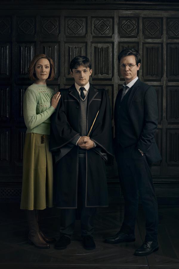 Susie Trayling (Ginny Potter), Joe Idris-Roberts (Albus Potter) and Jamie Ballard (Harry Potter)