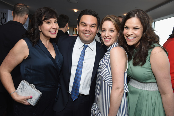 Kristen Anderson-Lopez, Robert Lopez, Jessie Mueller, and Lindsay Mendez