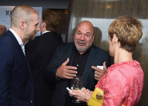 Tim Levy, Casey Nicholaw, and Denise Gough