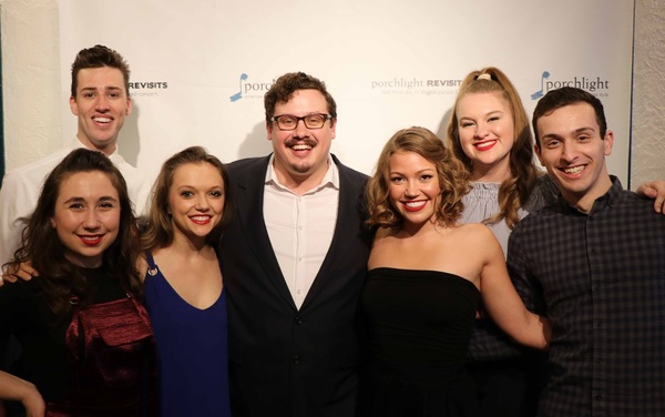 Director Christopher Pazdernik (center) with Roosevelt University acting/ensemble apprentices (L to R) Emma Parssi, Seavor Roach, Jenna Napolitano, TJ Tapp, Maeve Cosgriffe and Chase Heinemann
