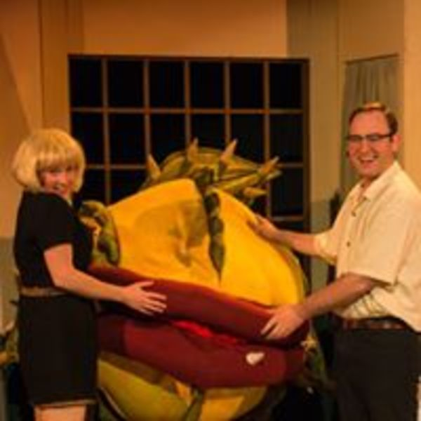 "(L to R) JENNIFER REDSTON (Audrey), ERIC CLAUSELL / JAMES WREDE (Audrey II) and NICLAS OLSON (Seymour) from the Lakewood Playhouse Production of ""LITTLE SHOP OF HORRORS"""