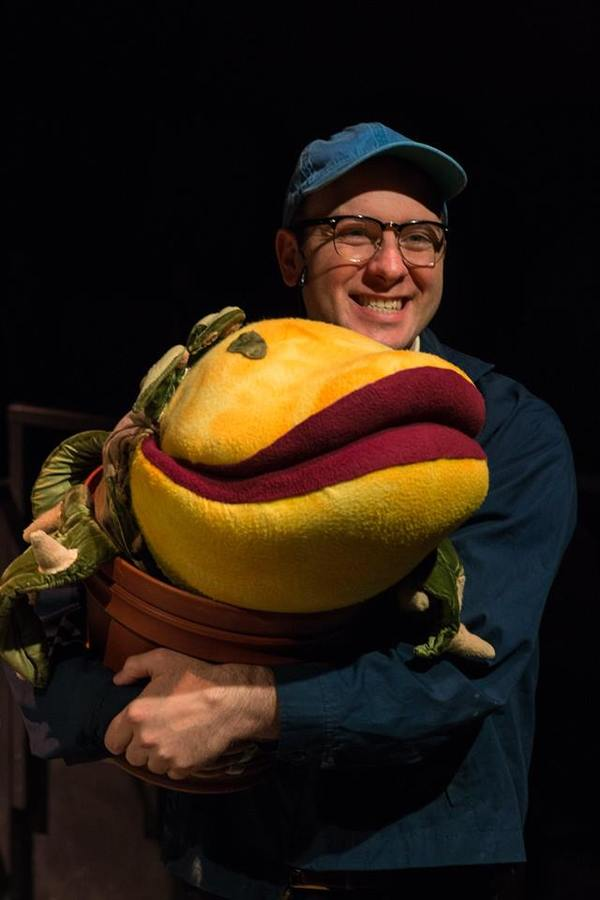 "NICLAS OLSON (Seymour) and AUDREY II from the Lakewood Playhouse Production of ""LITTLE SHOP OF HORRORS"""