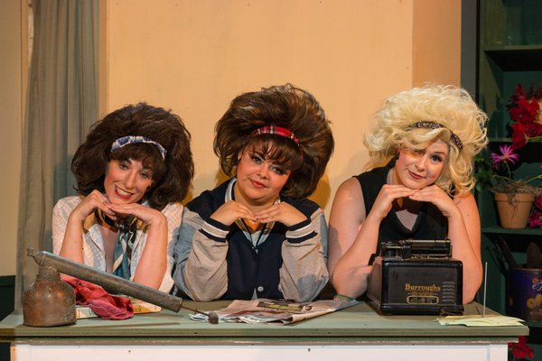 "(L to R)  TONI NICOLE BRIDGES (Crystal), BRITTANY GRIFFINS (Ronette) and JOELLE CRAFT (Chiffon) as ""The Doo Wop Girls"" from the Lakewood Playhouse Production of ""LITTLE SHOP OF HORRORS"""