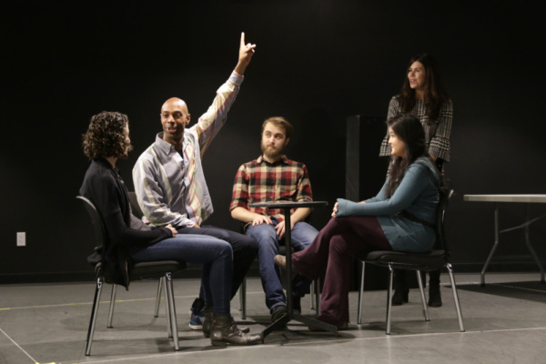 Becca Schneider, Jason C. Brown, Dominic F. Russo, Olivia Oguma, and Robin Galloway in rehearsals for Cannibal Galaxy: a love story.  Photo credit: Randy Sarafan