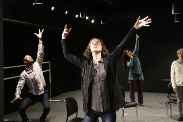 Inside rehearsals for Cannibal Galaxy: a love story with Jason C. Brown, Becca Schneider, Olivia Oguma, and Jo Yan.  Photo credit: Randy Sarafan