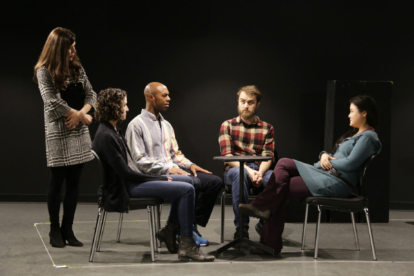 Robin Galloway, Becca Schneider, Jason C. Brown, Dominic F. Russo, and Olivia Oguma in rehearsals for Cannibal Galaxy: a love story.  Photo credit: Randy Sarafan