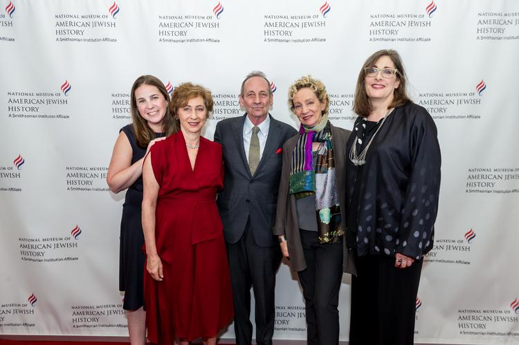 High Res Ivy Weingram, Associate Curator, National Museum of American Jewish History; Honorees Nina Bernstein Simmons, Alexander Bernstein, and Jamie Bernstein; and Ivy Barsky, CEO and Gwen Goodman Director