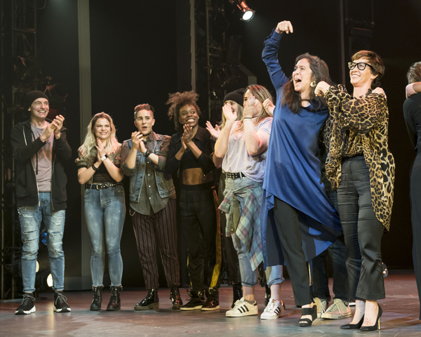 Diane  Paulus,  Alanis  Morrisette, and  members  of  the  Company