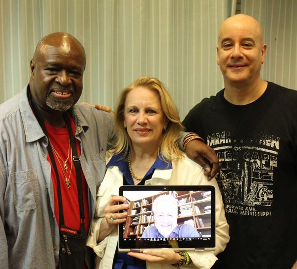 Akin Babatunde, Katherine Owens (director), David Weiss (guitarist), and Alan Govenar (writer) on computer