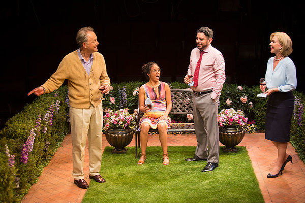 "(from left) Mark Pinter as Frank Butley, Kimberli Flores as Tania Del Valle, Eddie Martinez as Pablo Del Valle, and Peri Gilpin as Virginia Butley in Native Gardens, written by Karen Zacarías, and directed by Edward Torres, running May 26 â€"" June 24, 20"