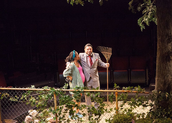 """Kimberli Flores as Tania Del Valle and Eddie Martinez as Pablo Del Valle in Native Gardens, written by Karen Zacarías, and directed by Edward Torres, running May 26 â€"""" June 24, 2018 at The Old Globe. Photo by Jim Cox."""