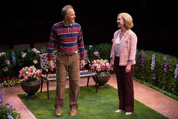 """Mark Pinter as Frank Butley and Peri Gilpin as Virginia Butley in Native Gardens, written by Karen Zacarías, and directed by Edward Torres, running May 26 â€"""" June 24, 2018 at The Old Globe. Photo by Jim Cox."""
