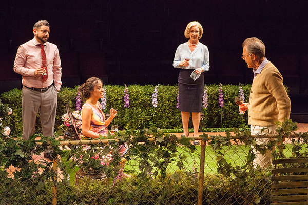 "(from left) Eddie Martinez as Pablo Del Valle, Kimberli Flores as Tania Del Valle, Peri Gilpin as Virginia Butley, and Mark Pinter as Frank Butley in Native Gardens, written by Karen Zacarías, and directed by Edward Torres, running May 26 â€"" June 24, 20"