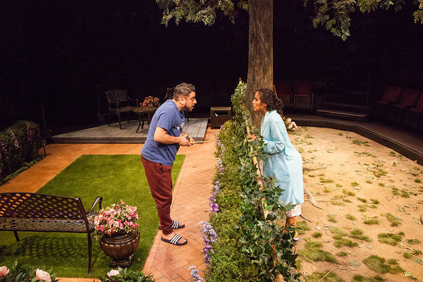 """Eddie Martinez as Pablo Del Valle and Kimberli Flores as Tania Del Valle in Native Gardens, written by Karen Zacarías, and directed by Edward Torres, running May 26 â€"""" June 24, 2018 at The Old Globe. Photo by Jim Cox."""