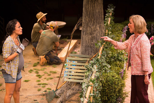 (from left) Kimberli Flores as Tania Del Valle, Alexander Guzman as Gardener, Jose Ballistrieri as Gardener, and Peri Gilpin as Virginia Butley in Native Gardens, written by Karen Zacarías, and directed by Edward Torres, running May 26 – June 24, 2018