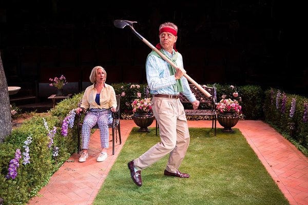 """Peri Gilpin as Virginia Butley and Mark Pinter as Frank Butley in Native Gardens, written by Karen Zacarías, and directed by Edward Torres, running May 26 â€"""" June 24, 2018 at The Old Globe. Photo by Jim Cox."""