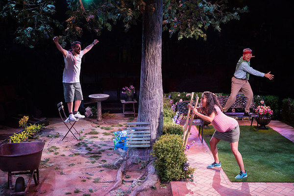 """(from left) Eddie Martinez as Pablo Del Valle, Kimberli Flores as Tania Del Valle, and Mark Pinter as Frank Butley in Native Gardens, written by Karen Zacarías, and directed by Edward Torres, running May 26 â€"""" June 24, 2018 at The Old Globe. Photo by Ji"""