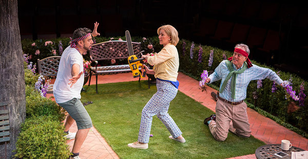 """(from left) Eddie Martinez as Pablo Del Valle, Peri Gilpin as Virginia Butley, and Mark Pinter as Frank Butley in Native Gardens, written by Karen Zacarías, and directed by Edward Torres, running May 26 â€"""" June 24, 2018 at The Old Globe. Photo by Jim Co"""