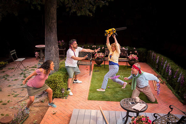(from left) Kimberli Flores as Tania Del Valle, Eddie Martinez as Pablo Del Valle, Peri Gilpin as Virginia Butley, and Mark Pinter as Frank Butley in Native Gardens, written by Karen Zacarías, and directed by Edward Torres, running May 26 – June 24, 20
