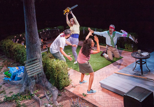 (from left) Eddie Martinez as Pablo Del Valle, Peri Gilpin as Virginia Butley, Kimberli Flores as Tania Del Valle, and Mark Pinter as Frank Butley in Native Gardens, written by Karen Zacarías, and directed by Edward Torres, running May 26 – June 24, 20