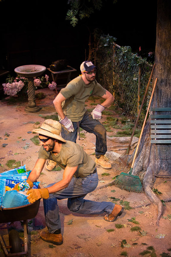 """(from left) Alexander Guzman as Gardener and Jose Balistrieri as Gardender in Native Gardens, written by Karen Zacarías, and directed by Edward Torres, running May 26 â€"""" June 24, 2018 at The Old Globe. Photo by Jim Cox."""