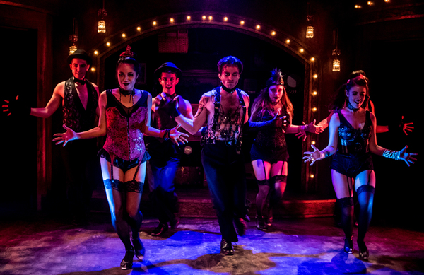 """Alex Nee as The Emcee (center) with the ensemble star in the Celebration production of """"CABARET,"""" directed by Michael Matthews and now playing at Celebration at the Lex Theatre."""