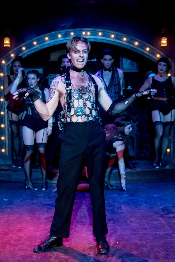 """Alex Nee (center) as the Emcee with the ensemble star in the Celebration production of """"CABARET,"""" directed by Michael Matthews and now playing at Celebration at the Lex Theatre."""