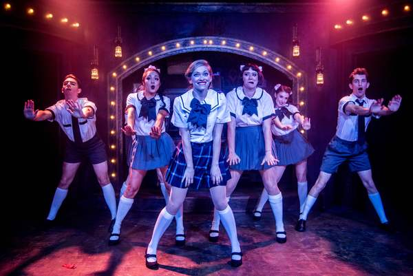 """Talisa Friedman as Sally Bowles (center) with the ensemble star in the Celebration production of """"CABARET,"""" directed by Michael Matthews and now playing at Celebration at the Lex Theatre."""