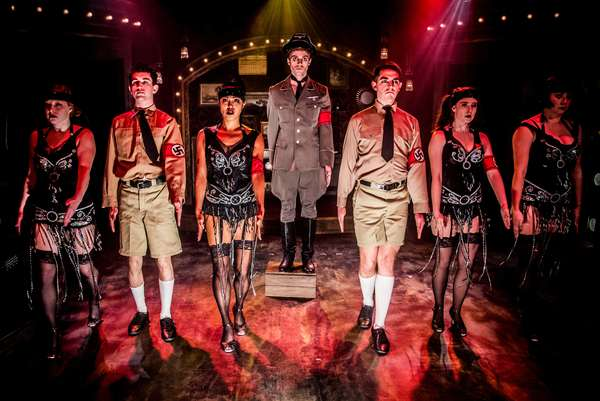 """Alex Nee (center) as the Emcee stars with the ensemble star in the Celebration production of """"CABARET,"""" directed by Michael Matthews and now playing at Celebration at the Lex Theatre."""