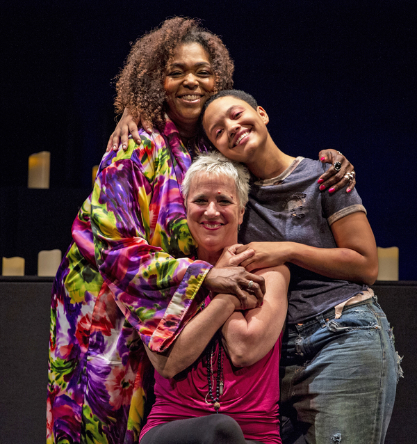 Liz Mikel , Kiersey Clemons and playwright Eve Ensler