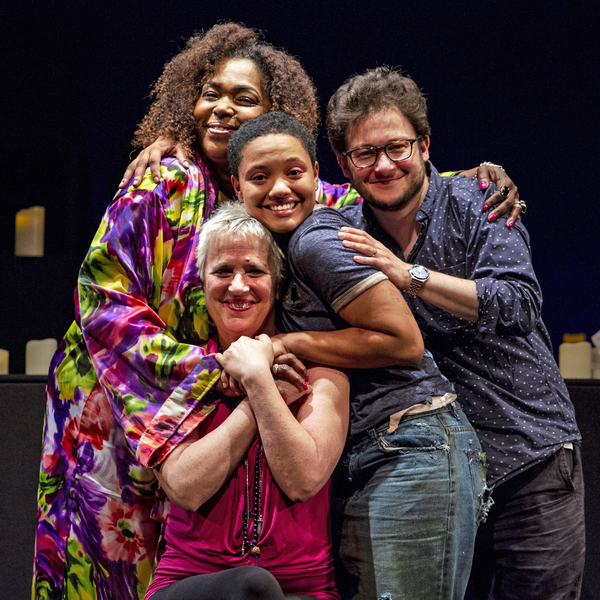 Liz Mikel , Kiersey Clemons, director Mark Rosenblatt and playwright Eve Ensler