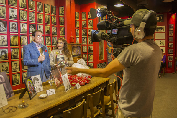 Rich Little and Donelle Dadigan (President/Founder of Hollywood Museum) give interview to Associated Press.