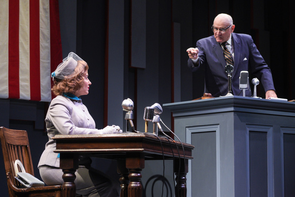 "L-R: Natalie (Donna Vivino) is questioned by Representative Walters (Robert Sicular) on the witness stand in ""FINKS"" presented by TheatreWorks Silicon Valley at the Mountain View Center for the Performing now June 6 to July 1, 2018."