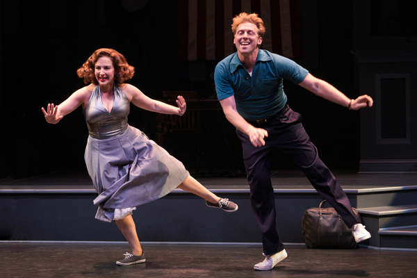 "L-R: Natalie (Donna Vivino) and Bobby (Leo Ash Evens) do the Lindy Hop in ""FINKS"" presented by TheatreWorks Silicon Valley at the Mountain View Center for the Performing Arts June 6 to July 1, 2018."