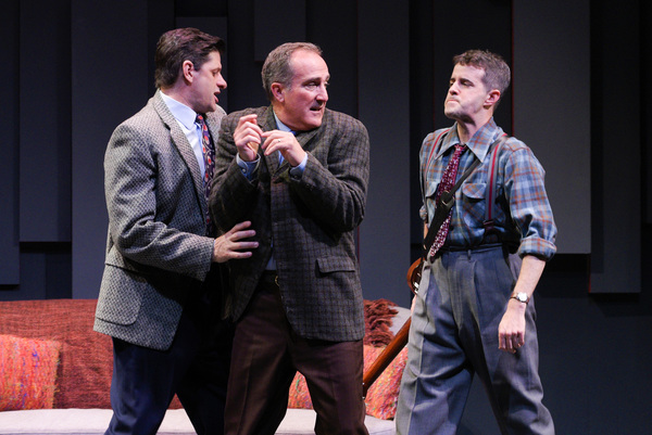 "Fred (Gabriel Marin, left) and Stanley (Michael Barrett Austin, right) catch a fink spying on their meeting (Richard Frederick, center) in ""FINKS"" presented by TheatreWorks Silicon Valley at the Mountain View Center for the Performing Arts June 6 to July"