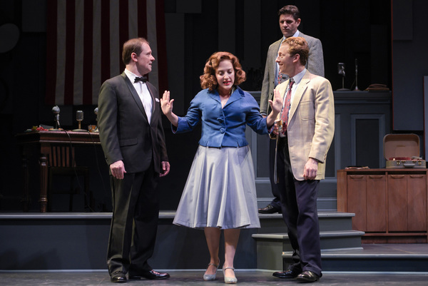 "Natalie (Donna Vivino, center) steps in during a heated conversation between Mickey (Jim Stanek, left) and Bobby (Leo Ash Evens, right) while their friend Fred (Gabriel Marin) looks on in ""FINKS"" presented by TheatreWorks Silicon Valley at the Mountain Vi"