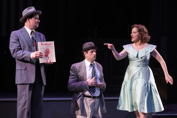 "L-R: Mickey (Jim Stanek), Fred (Gabriel Marin) and Natalie (Donna Vivino) explain the Red Channels during a benefit performance in ""FINKS"" presented by TheatreWorks Silicon Valley at the Mountain View Center for the Performing Arts June 6 to July 1, 2018."