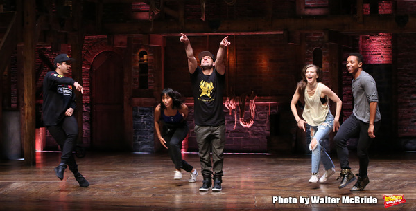 Zelig Williams, Karla Garcia, Roddy Kennedy, Eliza Ohman and David Guzman from the 'Hamilton' cast during a Q & A before The Rockefeller Foundation and The Gilder Lehrman Institute of American History sponsored High School student #EduHam matinee performa
