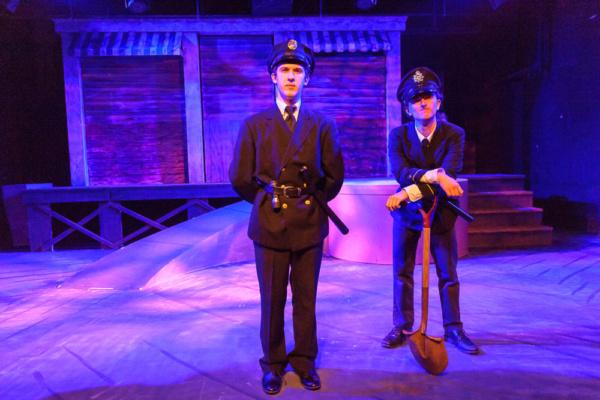 left to right, Mark Quackenbush as Officer Lockstock and Eli Vogel as Officer Barrel. Photo