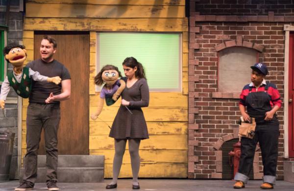Alex Newkirk, Emilie Rose Danno, and Aziza Macklin in Avenue Q at Metropolis Photo