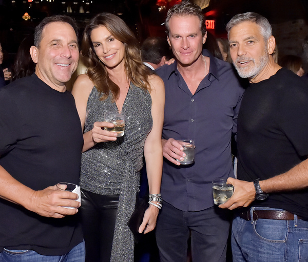 LOS ANGELES, CA - JUNE 08:  (L-R) Mike Meldman, Cindy Crawford, Rande Gerber and George Clooney at the Casamigos House of Friends Dinner on June 8, 2018 in Hollywood, California.  (Photo by Stefanie Keenan/Getty Images for Casamigos )