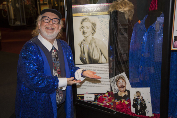 Emmy winner, Grammy nominee and best selling Author, Geoffrey Mark, with friend, Rip Taylor's, exhibit