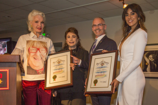 Tony Award winning actress Julie Newmar (the Legacy Award), Donelle Dadigan (President/Founder of The Hollywood Museum), Councilman Mitch O'Farrell and the other honoree for the evening, presented to actress Stephanie Beatriz (The Future of Hollywood Awar