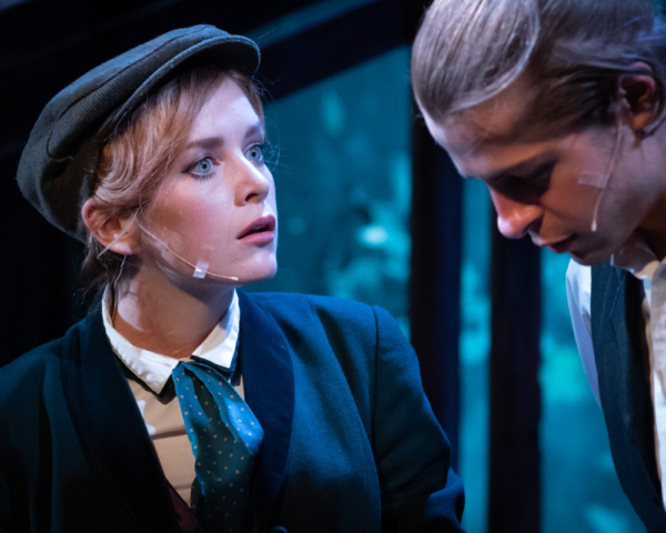 Berkley Jones as Charlie and James Hunsaker as Harry Jekyll in Young Dr. Jekyll the Musical. Proctors' and Mills Entertainment, Producers in conjunction with New York Stage Originals. Book by Lisa Hop
