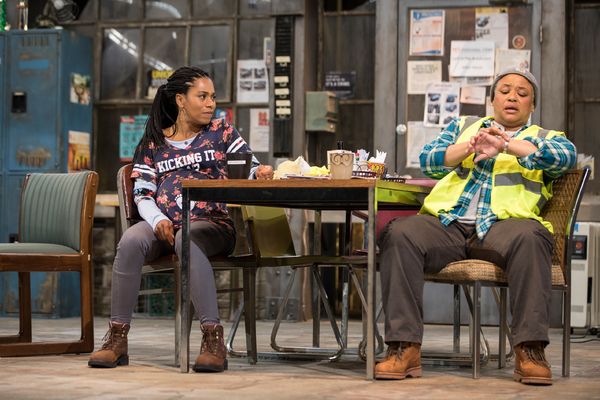 Kelly McCreary and Caroline Stefanie Clay in Skeleton Crew at the Geffen Playhouse. Photo by Chris Whitaker.