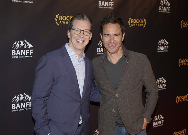 "NBCUNIVERSAL EVENTS --  ""Banff World Media Festival"", Fairmont Banff Springs, Banff, Alberta, Canada; Rockies Awards Gala Ceremony -- Pictured: (l-r) Sean Hayes, recipient of the ""Sir Peter Ustinov Comedy Award""; Eric McCormack -- (Photo by: Paul Drinkwat"