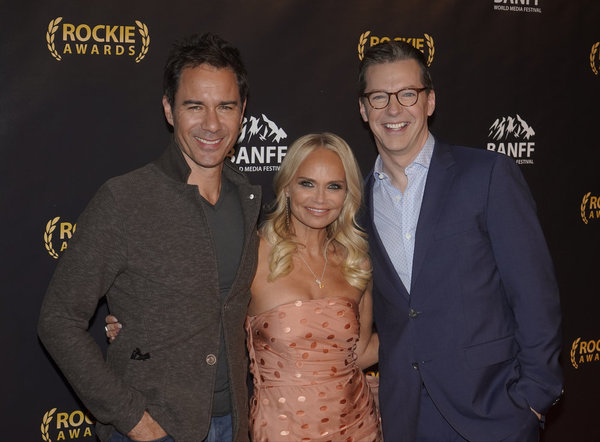 "NBCUNIVERSAL EVENTS --  ""Banff World Media Festival"", Fairmont Banff Springs, Banff, Alberta, Canada; Rockies Awards Gala Ceremony -- Pictured: (l-r) Eric McCormack, Host, Kristin Chenoweth; Sean Hayes, recipient of the ""Sir Peter Ustinov Comedy Award"" --"