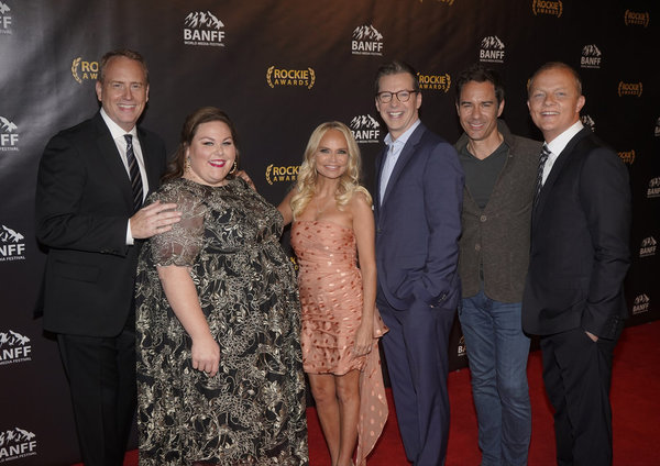 "NBCUNIVERSAL EVENTS --  ""Banff World Media Festival"", Fairmont Banff Springs, Banff, Alberta, Canada; Rockies Awards Gala Ceremony -- Pictured: (l-r) Robert Greenblatt, Chairman, NBC Entertainment; Chrissy Metz; Kristin Chenoweth; Sean Hayes; Eric McCorma"