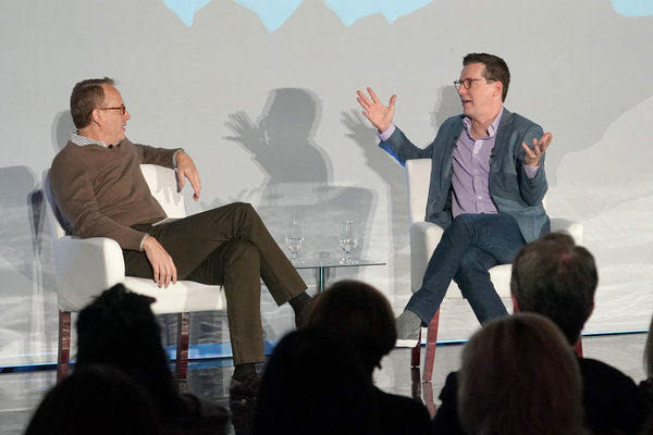 "NBCUNIVERSAL EVENTS --  ""Banff World Media Festival"", Fairmont Banff Springs, Banff, Alberta, Canada; In Conversation: Sean Hayes -- Pictured: (l-r) Moderator, Robert Greenblatt, Chairman, NBC Entertainment; Sean Hayes -- (Photo by: Paul Drinkwater/NBCUni"